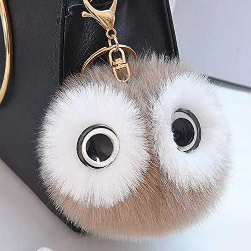 12cm Lovely Big Eyes Decorated Cute Imitate Rabbit Fur Key Chain for Car Key Ring or Bags (Khaki)