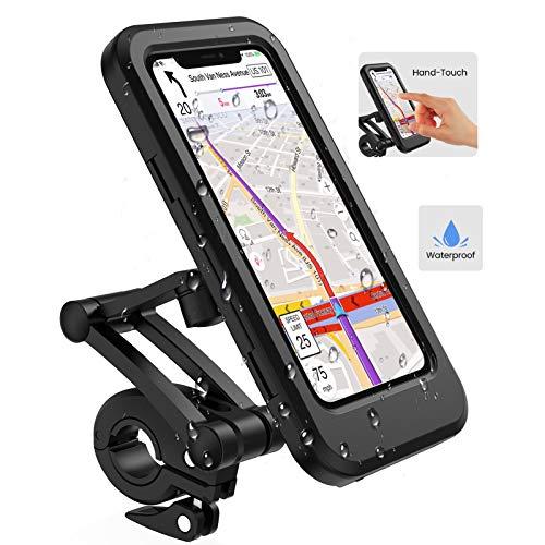 Lifelf Portacellulare per bicicletta, porta smartphone impermeabile con touch screen, ruotabile a 360°, regolabile in altezza per iPhone Samsung Galaxy Huawei a 6,7 pollici, moto da bicicletta, Nero