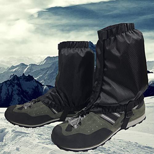 VORCOOL 1 Paar Schnee Gamaschen Leichte Wasserdichte Knöchel Gamaschen für Outdoor Wandern Klettern (Schwarz) - 2