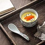 XTYMY xytmy Porzellan Suppe Löffel Blume Henkel Handbemalt Chinesische/Asiatische Reis Löffel für Appetizer Tableware-Set 5Stück. - 3