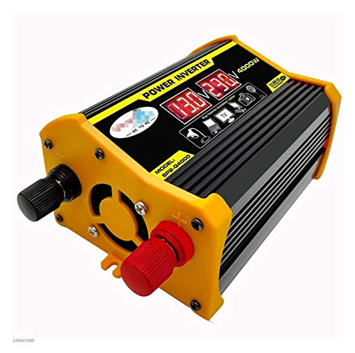 XIAOSHI Little Oriental 4000W Digital Car Inverter 12V bis 220 / 110V Modifizierter Sinuswellenumrichter Spannungswandler + LCD-Anzeige Auto Haushaltsgeräte (Color : Black 12V to 220V)