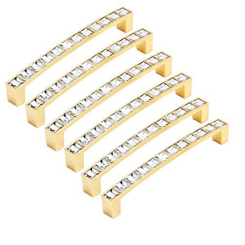 FBSHOP(TM) - 6 pomos de Cristal para cajón y Puerta, Tiradores de Diamante con Base de aleación de Zinc para el hogar, Cocina, Oficina, Armario, cajón, Color Dorado, Hole Distance:128mm