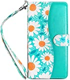 J.west Galaxy Note 9 Wallet Case,4 Card Slots Floral White Daisy PU Leather ID Credit Cash Holder Magnetic Folio Flip Phone Cover for Girls Women with Kickstand Lanyard for Samsung Note 9 Mint Green
