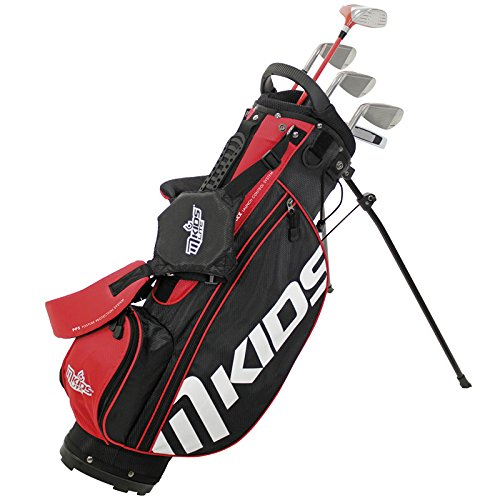 MKids Junior Golf Lite Pacchetto Set di Stand Bag, Fairway Legno Metallo, 6& 8Ferri, Pitching Wedge, AGM, Putter, copritesta in Rosso 134,6cm, Unisex, Left, Red