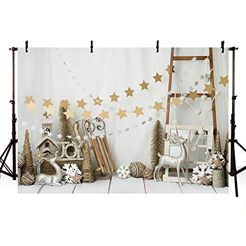 MEHOFOTO - Pancarta decorativa navideña para decoración de fiestas, diseño de estrellas de Navidad con fondos de fotografía