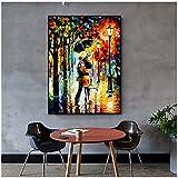 Pinturas de lienzo de paisaje abstracto, carteles e impresiones artísticos de pared, imágenes de pareja lluviosa de la calle del bosque para la decoración del hogar de Roma viva