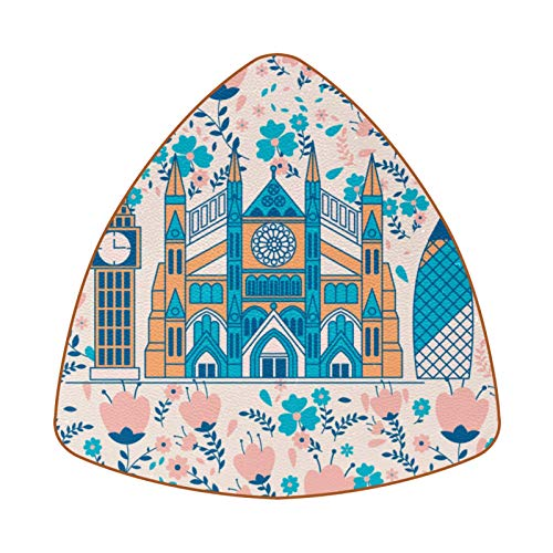 Posavasos triangulares para bebidas, diseño de la Abadía de Westminster con flores de cuero, para proteger muebles, resistente al calor, decoración de bar de cocina, juego de 6