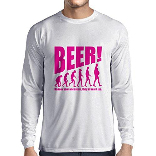 Camiseta de Manga Larga para Hombre The Beervolution - Ideas Divertidas únicas sarcásticas del Regalo para los Amantes de la Cerveza, evolución de consumición (Large Blanco Magenta)