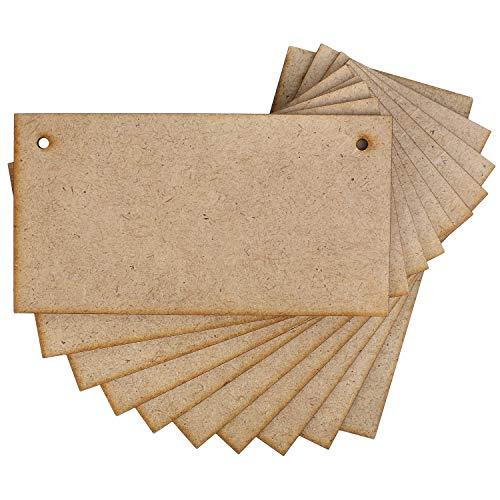 Creative Deco 10 x MDF Plaques Signes Bois | 150 mm x 80 mm | Tranchant Bord Bois Léger | Idéal pour Vernis, Peinture, Tache, Décorer