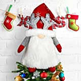 Gnome Christmas Tree Topper, Large Santa Gnome Tree Topper Swedish Tomte Gnome Christmas Ornaments Plush Scandinavian Christmas Decorations Holiday Home Decor - Red…