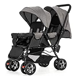 YiYiDa Twin Baby Strollers Sit Back and Forth in Strollers Lightly Fold Double Two-Seater Strollers Can Lie Down