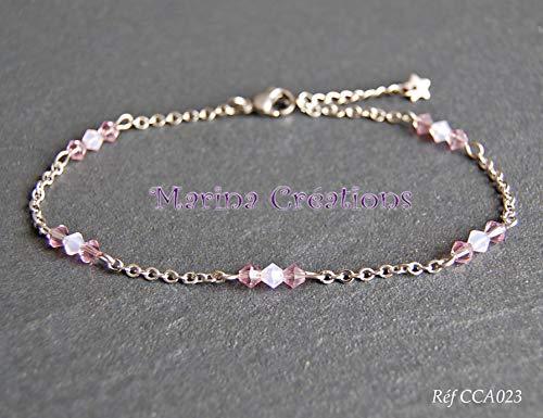 Fußkette/Edelstahl Knöchelkette rosa und lila Töne: Swarovski Elements Kristallperlen Länge Ihrer Wahl