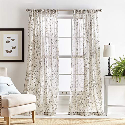 MARTHA STEWART Annabelle Floral Sheer Rod Pocket Single Curtain Panel, 84-inch, Linen