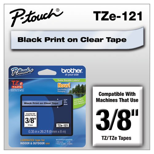 Brother 3/8 Inch x 26.2 Feet Black On Clear Standard Laminated Tape for P-Touch (TX121)