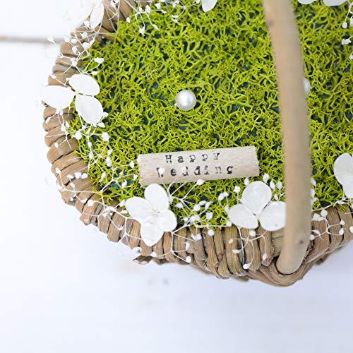 Lulu'sルルズリングピローかごバスケットかすみ草アジサイプリザーブドフラワーウェディングブライダル結婚指輪サイズ:横12cm縦9cm高さ13cmバスケットリングピローLulu's-1155