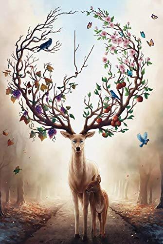SDFSD Cartoon Elch Hirsch Flamingo Vogel Geweih Blumenmuster Tiermalerei Kinderzimmer Home Decor Poster Wandkunst Leinwand Malerei 30 * 40cm