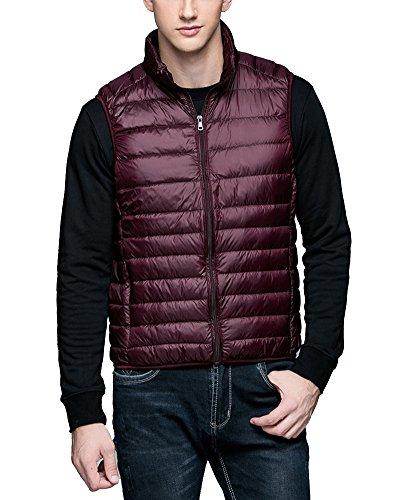 Chalecos de Plumas Ligero Sin Mangas Chaqueta Compresible Corta Abrigo de Invierno para Hombre Vino Rojo L