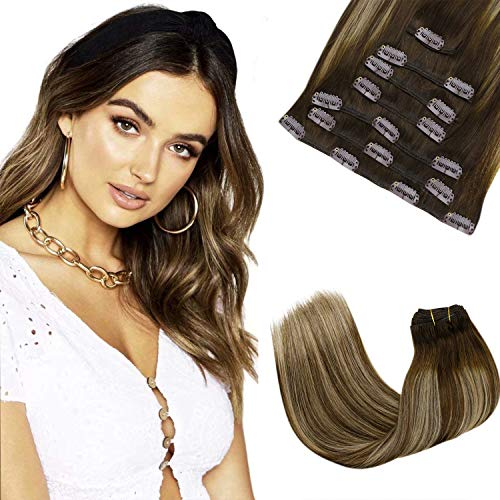 LaaVoo 14inches/35cm Clip Extension Capelli Remy Human Hair (7 Pizzo, 120 Grammo, 4/27/4 Marrone Scuro Balayage Ombre Bionda Caramellata) Capelli Veri Clip Great Lengths Hair Extensions