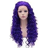 Iwona morado rizado Lace Front Peluca de pelo sintético color morado famoso Natural elegante peluca rizado