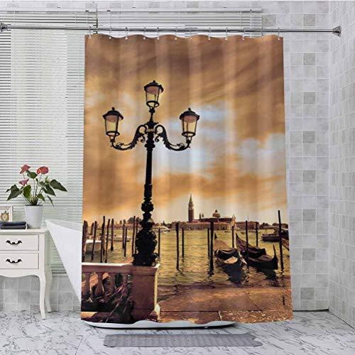 Cortina de ducha de tela, diseño de góndolas de la laguna de Venecia amarrado por Saint Mark Square en Grand Canals Dreamy Sky, 182 x 213 cm, accesorios de baño, color marrón claro negro