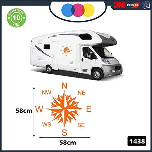 Adesivi per Camper - 2 Pezzi Rosa dei Venti - Adesivi per Camper - Caravan roulotte - Accessori Camper, Stickers, Decal - per Camper, FURGONI E Van - cod. 1438 Arancio 58 x 58 cm