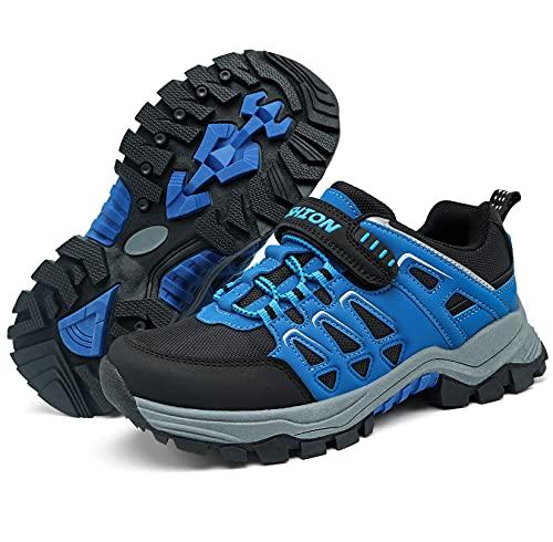 VITIKE Trekking-& Wanderhalbschuhe Kinder Trekking Schuhe Jungen Mädchen rutschfeste Outdoor Sneaker Wanderschuhe Outdoorschuhe,Schwarz Blau,37 EU