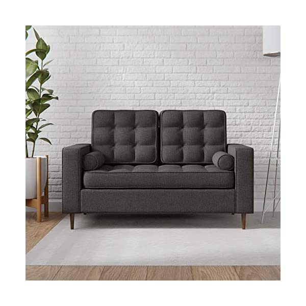 Edenbrook Lynnwood Upholstered Sofa with Square Arms and Tufting-Bolster Throw Pillows...