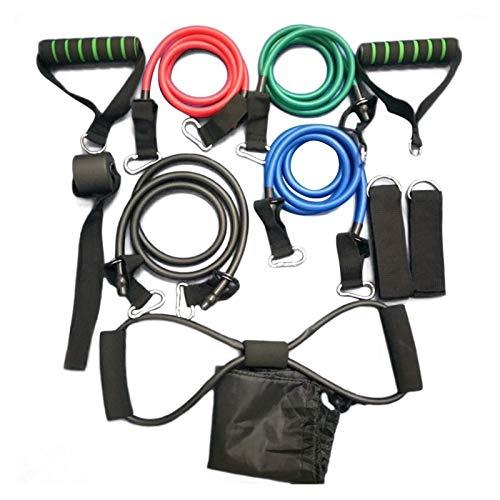 Bandas de ejercicio Set de 11 piezas de resistencia de resistencia del bandolón de la cuerda de la cuerda Fitness Tensor de multifunción Traje de entrenamiento muscular Bandas de manga elástica para h