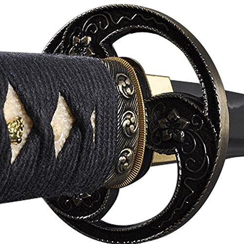 Handmade Sword - Samurai Wakizashi Swords, Functional, Hand Forged, 1045 Carbon Steel, Heat Tempered, Full Tang, Sharp, Cherry Blossom Tomoe Crest Tsuba, Black Wooden Scabbard