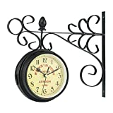 FANJUANMIN Reloj de pared doble lateral silencioso decoración del hogar barra de hierro estilo retro colgante para oficina sala de estar dormitorio regalo