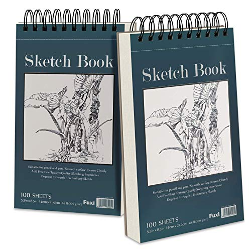 """5.5"""" x 8.5"""" Sketchbook Set, Top Spiral Bound Sketch Pad, 2 Packs 100-Sheets Each (68lb/100gsm), Acid Free Art Sketch Book Artistic Drawing Painting Writing Paper for Beginners Artists"""