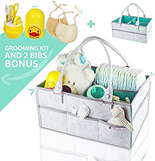 Baby Diaper Caddy Organizer & Storage Bin | Portable Nursery Holder Bag for Diapers and Baby Wipes with 6 Compartments | Nursery Essentials Basket & Best Baby Shower Gift |