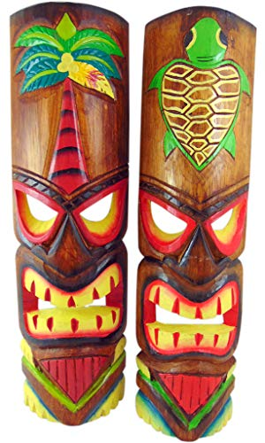 Tiki Mask Wall Plaque Handcarved Wooden Decor with Palm Tree and Turtle Design 20 Inches, Set of 2