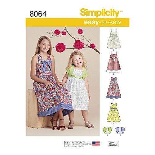 Simplicity 8064 K5 K5 Kinderjurken en Bolero snijpatroon, papier