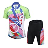 CH&Q Kids Boys Girls Cycling Jersey Set Short Sleeve Jersey Clothing Apparel Suit for Mountain Bike Road...
