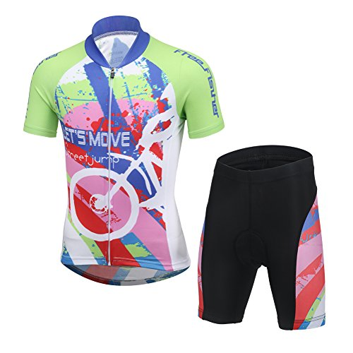 LSERVER-Unisex Bambino/Bambina Sportiva Maglia e Pantaloncino Shorts Ciclismo Bicicletta