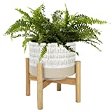 Ceramic Plant Pot with Stand - 7.3 Inch Boho Style Decorative Cylinder Flower Pot with Wood Planter Holder for Indoor, Light Beige & White