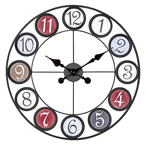 Ceanothe Horloge Murale 60 cm – Horloge Factory Ronde Colorée– Horloge Silencieuse 60 cm – Horloge Style Industriel – Marque Française
