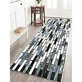 Bescita Moderner Teppich Fliesen Hauptströmung Schwarz Weiß Ziegel Teppich Rutschfest Für Kinderzimmer, Boden, Wohnzimmer, Bad, Flur, Tür Matte (B)