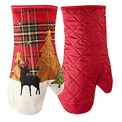 SZHMKJ Cotton Oven Mitts Red,Heat-Resistant Gloves Potholders with Haning Loop for Housewarming Gift Home Decor,1 Pair
