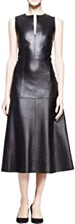A-line Skirt Slim Below Knee Faux Leather Dress plus1x-10x(SZ16-52)