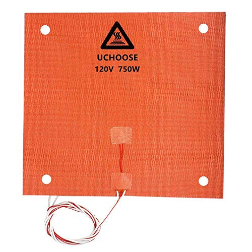 3D Printer Silicone Heated Pad, Heating Plate 310x310mmx1.5mm, 120V 750W for Creality CR-10 /CR-10S 3D Printers Heater Bed with Screw Holes /3M Adhesive