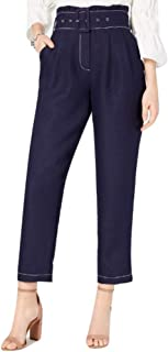 MOON RIVER Women's Belted Paper Bag Pants