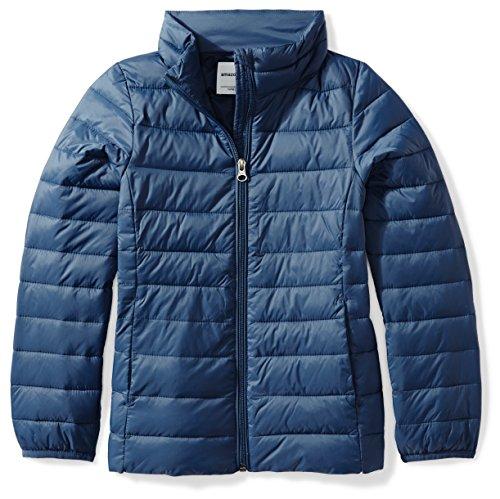 Amazon Essentials Big Girl's Lightweight Water-Resistant Packable Puffer Jacket, Navy, Medium