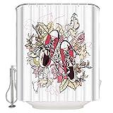 N / A Disegno di Foglie d'autunno Scarpe di Tela Rosse Tenda da doccia in Tessuto Set arredo bagno Bianco con ganci Stallo