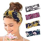Set di 4 fasce per capelli da donna, stile boho, stile floreale, elastiche e sportive, per...