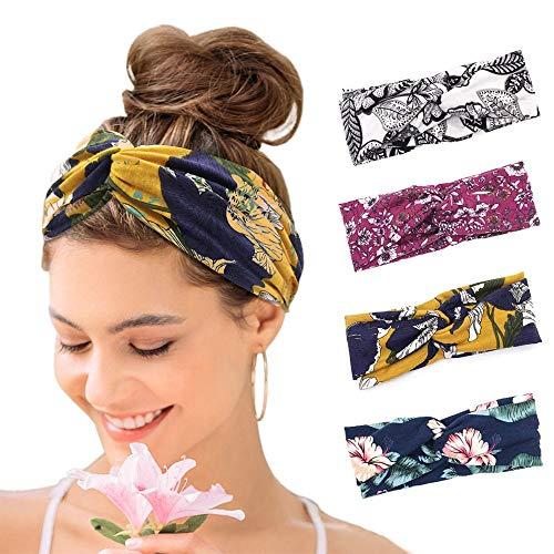 KAVYA 4er Boho Stirnband Damen Kopfband Haarband Turban Elastische Weiche Bohmisches Stirnband Blume Muster bedruckt Verdreht Baumwolle für Alltag Yoga Sport Fitness…