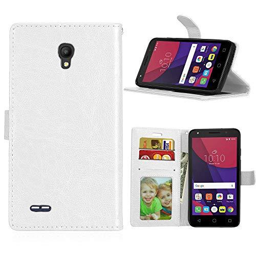 Wenlon Caja del teléfono de la PU para Alcatel Go Play (5.0) OT7048, Caja del teléfono de la Cartera del Negocio del Cuero Artificial, función de Soporte -Blanco