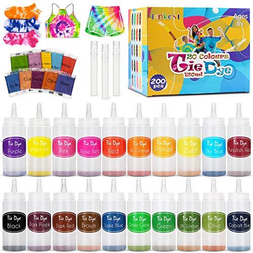 lenbest 20 Colores Tie Dye DIY Kit, 120 Ml Tinta Teñido Anudado para Teñir Telas, Kit de Pintura Textil de Tela de Ropa de Moda DIY, Anudado de Artes Creativas y Artesanías Produtos para Adulto y Niño
