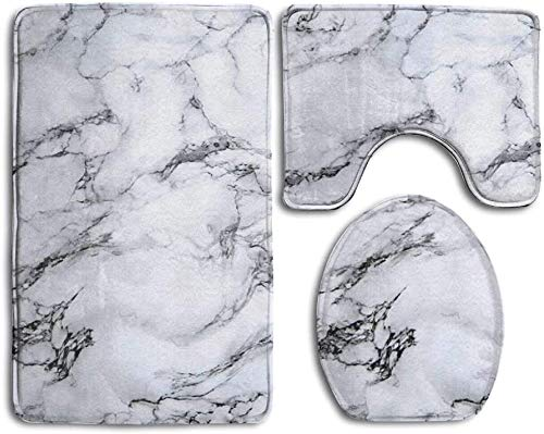 White Marble Super Cute 3 Piece Bathroom Rug Set Bath Rug, Contour Mat, Lid Cover Non-Slip with Rubber Backing